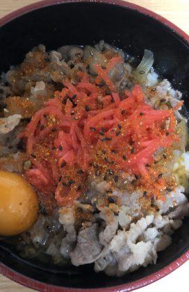 片麻痺の料理(牛丼)
