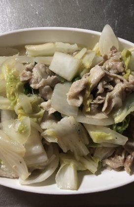 片麻痺の料理(豚肉白菜)
